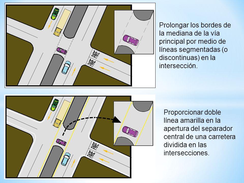Prolongar los bordes de la mediana de la vía principal por medio de líneas segmentadas (o discontinuas) en la intersección. Proporcionar doble línea a