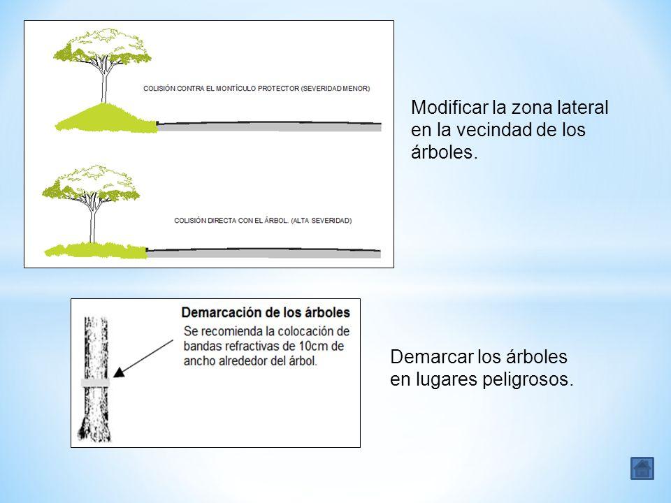 Modificar la zona lateral en la vecindad de los árboles. Demarcar los árboles en lugares peligrosos.