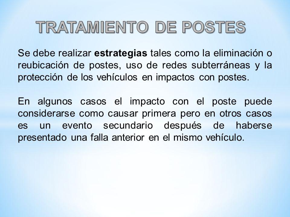 Se debe realizar estrategias tales como la eliminación o reubicación de postes, uso de redes subterráneas y la protección de los vehículos en impactos