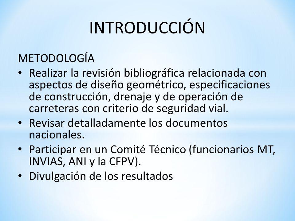 INTRODUCCIÓN METODOLOGÍA Realizar la revisión bibliográfica relacionada con aspectos de diseño geométrico, especificaciones de construcción, drenaje y