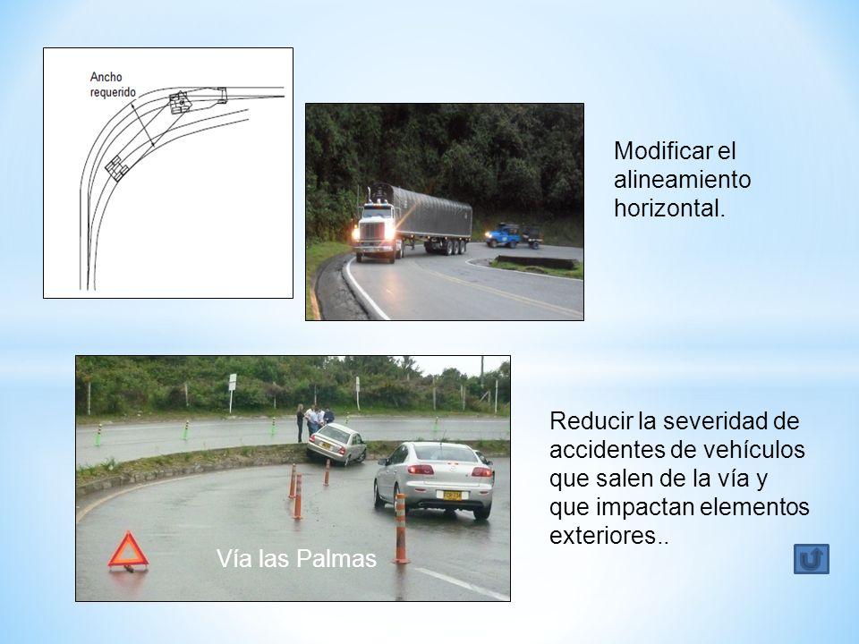 Modificar el alineamiento horizontal. Vía las Palmas Reducir la severidad de accidentes de vehículos que salen de la vía y que impactan elementos exte
