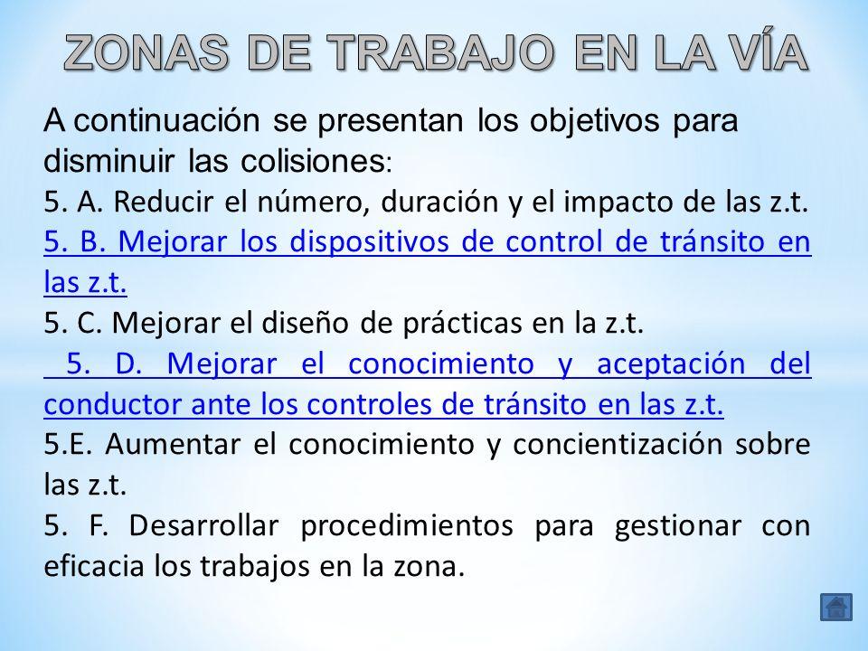 A continuación se presentan los objetivos para disminuir las colisiones : 5. A. Reducir el número, duración y el impacto de las z.t. 5. B. Mejorar los