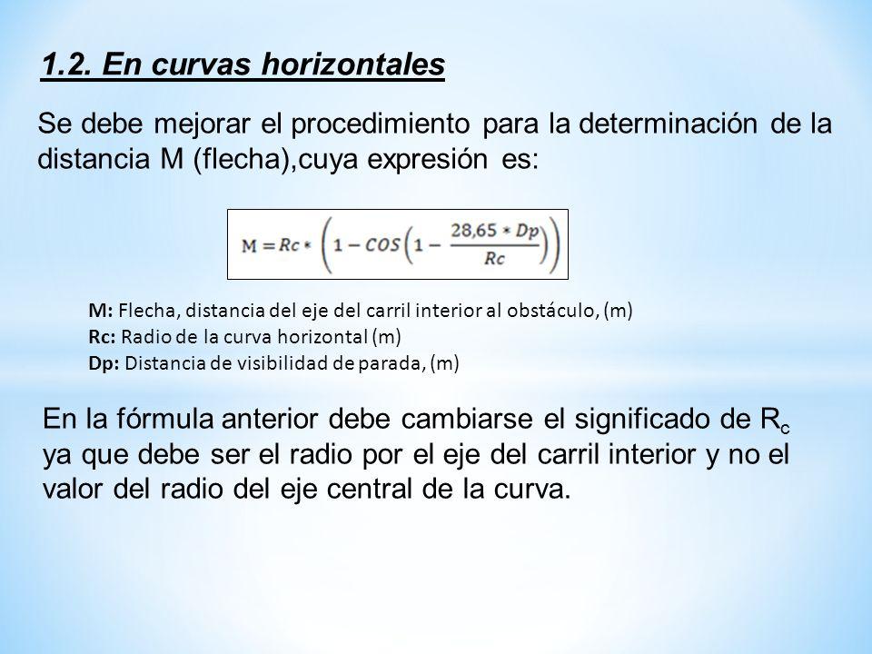 1.2. En curvas horizontales Se debe mejorar el procedimiento para la determinación de la distancia M (flecha),cuya expresión es: M: Flecha, distancia