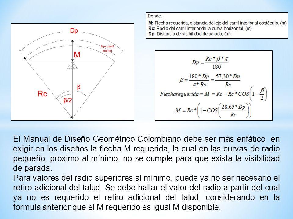 El Manual de Diseño Geométrico Colombiano debe ser más enfático en exigir en los diseños la flecha M requerida, la cual en las curvas de radio pequeño