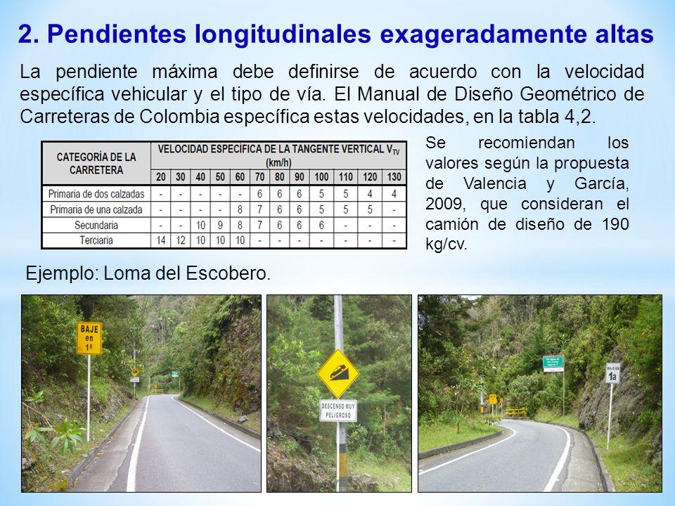 2. Pendientes longitudinales exageradamente altas La pendiente máxima debe definirse de acuerdo con la velocidad específica vehicular y el tipo de vía