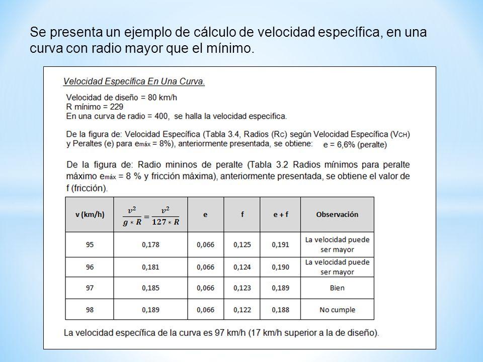 Se presenta un ejemplo de cálculo de velocidad específica, en una curva con radio mayor que el mínimo.