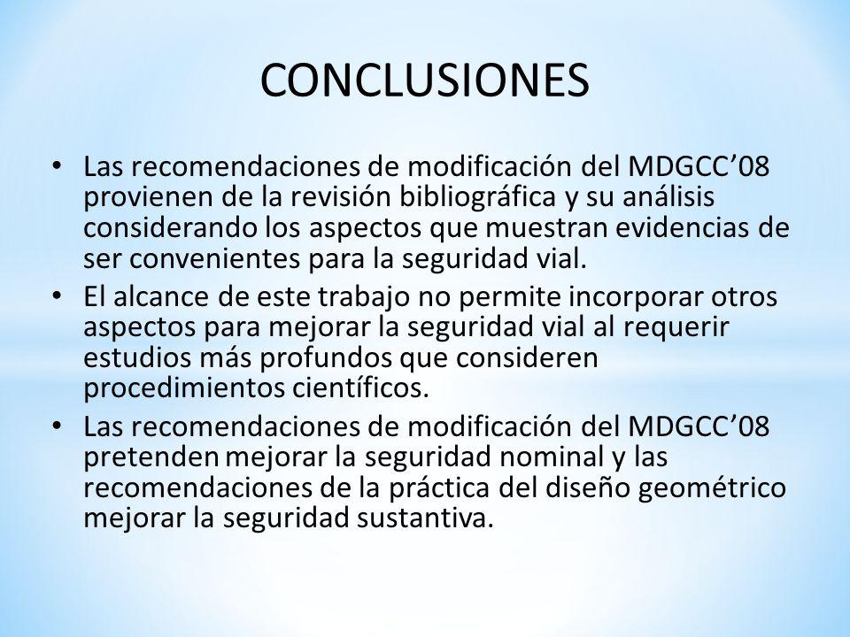 CONCLUSIONES Las recomendaciones de modificación del MDGCC08 provienen de la revisión bibliográfica y su análisis considerando los aspectos que muestr