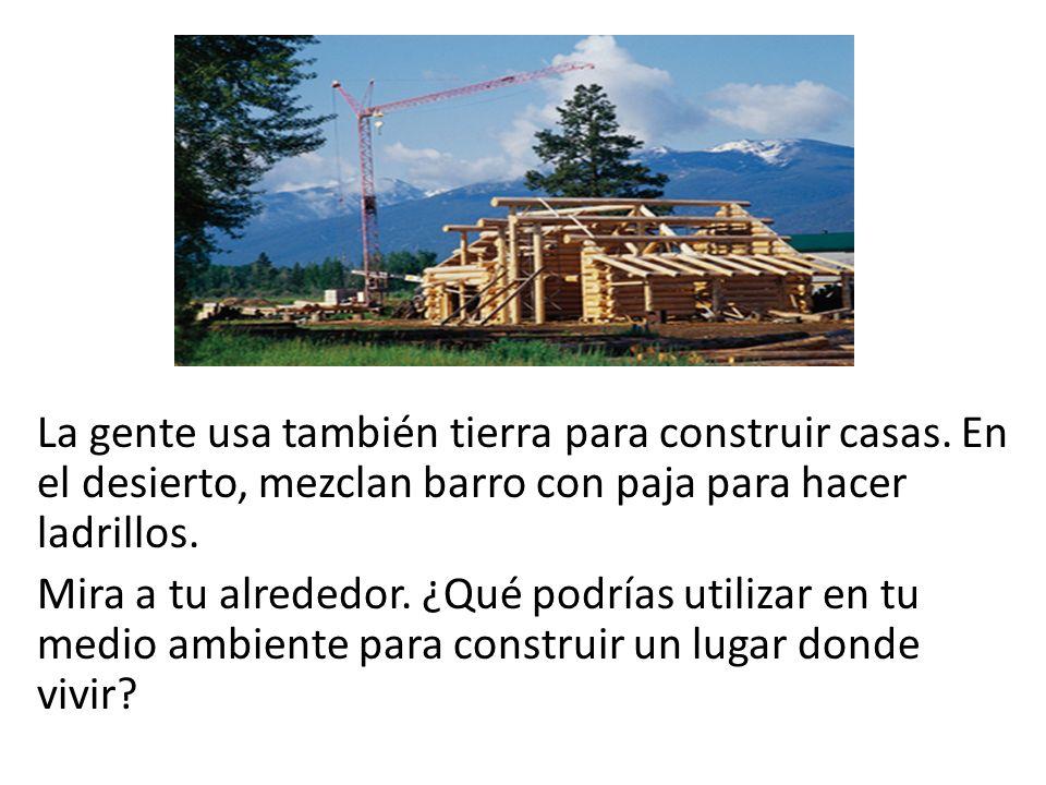 La gente usa también tierra para construir casas. En el desierto, mezclan barro con paja para hacer ladrillos. Mira a tu alrededor. ¿Qué podrías utili