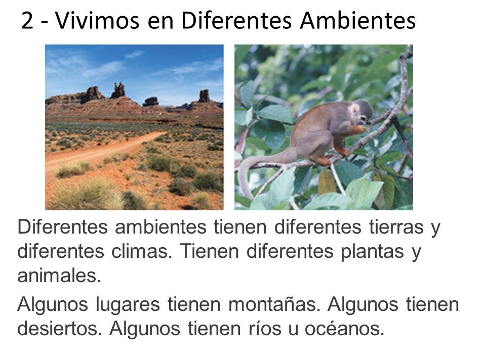 2 - Vivimos en Diferentes Ambientes Diferentes ambientes tienen diferentes tierras y diferentes climas. Tienen diferentes plantas y animales. Algunos