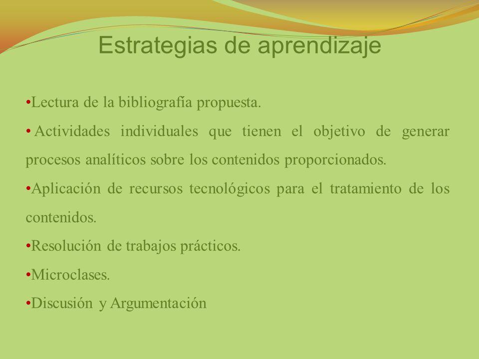 Estrategias de aprendizaje Lectura de la bibliografía propuesta. Actividades individuales que tienen el objetivo de generar procesos analíticos sobre