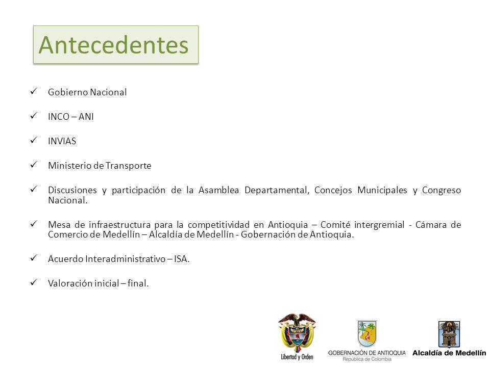 Gobierno Nacional INCO – ANI INVIAS Ministerio de Transporte Discusiones y participación de la Asamblea Departamental, Concejos Municipales y Congreso