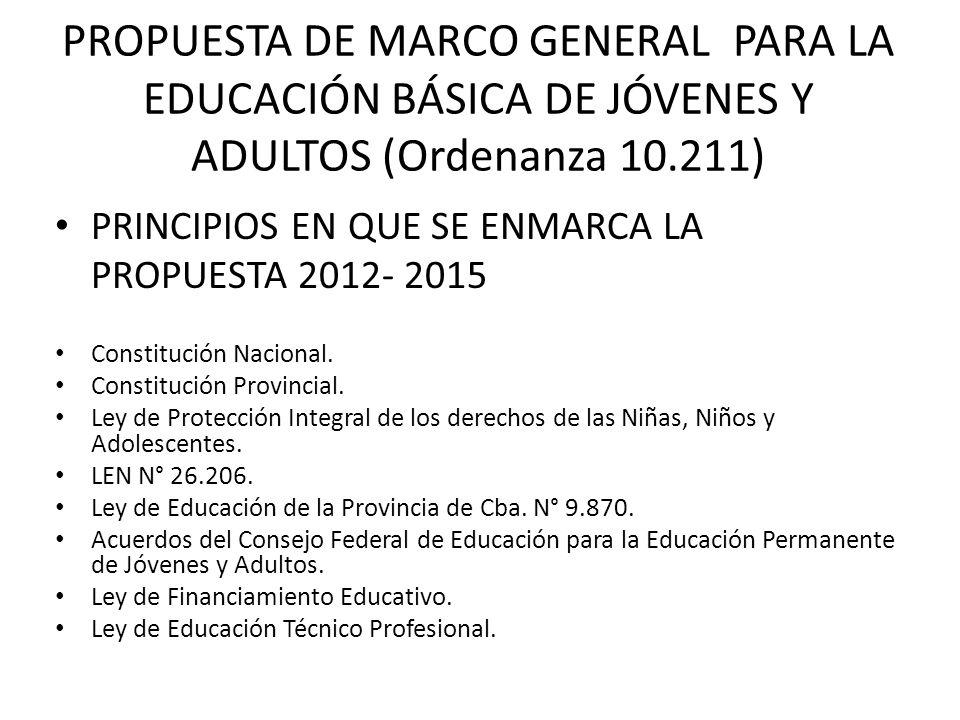 PROPUESTA DE MARCO GENERAL PARA LA EDUCACIÓN BÁSICA DE JÓVENES Y ADULTOS (Ordenanza 10.211) PRINCIPIOS EN QUE SE ENMARCA LA PROPUESTA 2012- 2015 Const