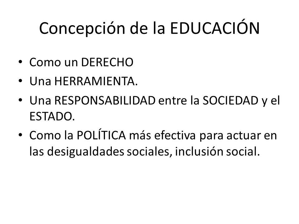 Concepción de la EDUCACIÓN Como un DERECHO Una HERRAMIENTA. Una RESPONSABILIDAD entre la SOCIEDAD y el ESTADO. Como la POLÍTICA más efectiva para actu