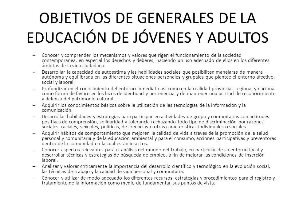 OBJETIVOS DE GENERALES DE LA EDUCACIÓN DE JÓVENES Y ADULTOS – Conocer y comprender los mecanismos y valores que rigen el funcionamiento de la sociedad