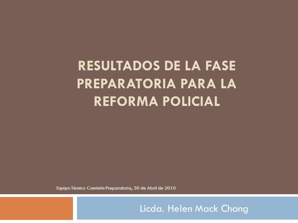 RESULTADOS DE LA FASE PREPARATORIA PARA LA REFORMA POLICIAL Licda. Helen Mack Chang Equipo Técnico Comisión Preparatoria, 30 de Abril de 2010