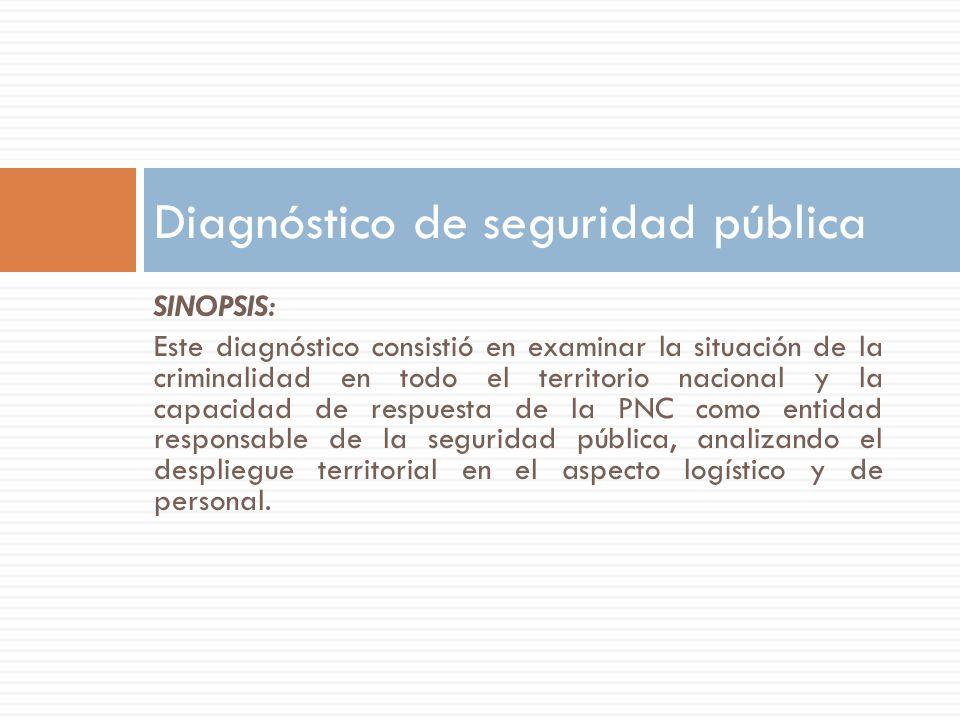 SINOPSIS: Este diagnóstico consistió en examinar la situación de la criminalidad en todo el territorio nacional y la capacidad de respuesta de la PNC