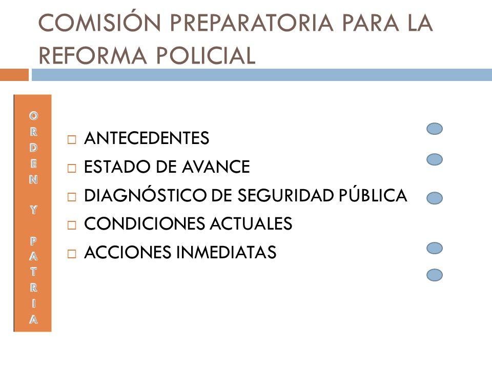 COMISIÓN PREPARATORIA PARA LA REFORMA POLICIAL ANTECEDENTES ESTADO DE AVANCE DIAGNÓSTICO DE SEGURIDAD PÚBLICA CONDICIONES ACTUALES ACCIONES INMEDIATAS