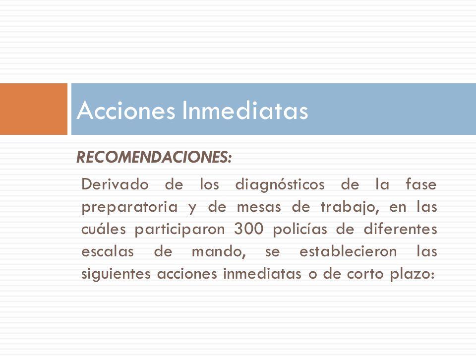 RECOMENDACIONES: Derivado de los diagnósticos de la fase preparatoria y de mesas de trabajo, en las cuáles participaron 300 policías de diferentes esc