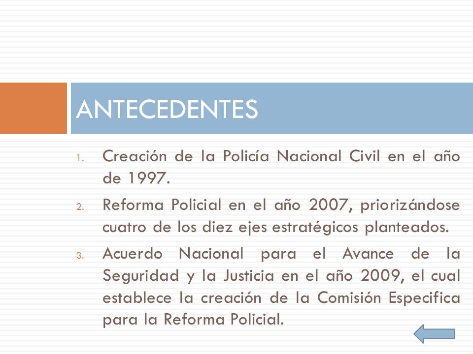 1. Creación de la Policía Nacional Civil en el año de 1997. 2. Reforma Policial en el año 2007, priorizándose cuatro de los diez ejes estratégicos pla
