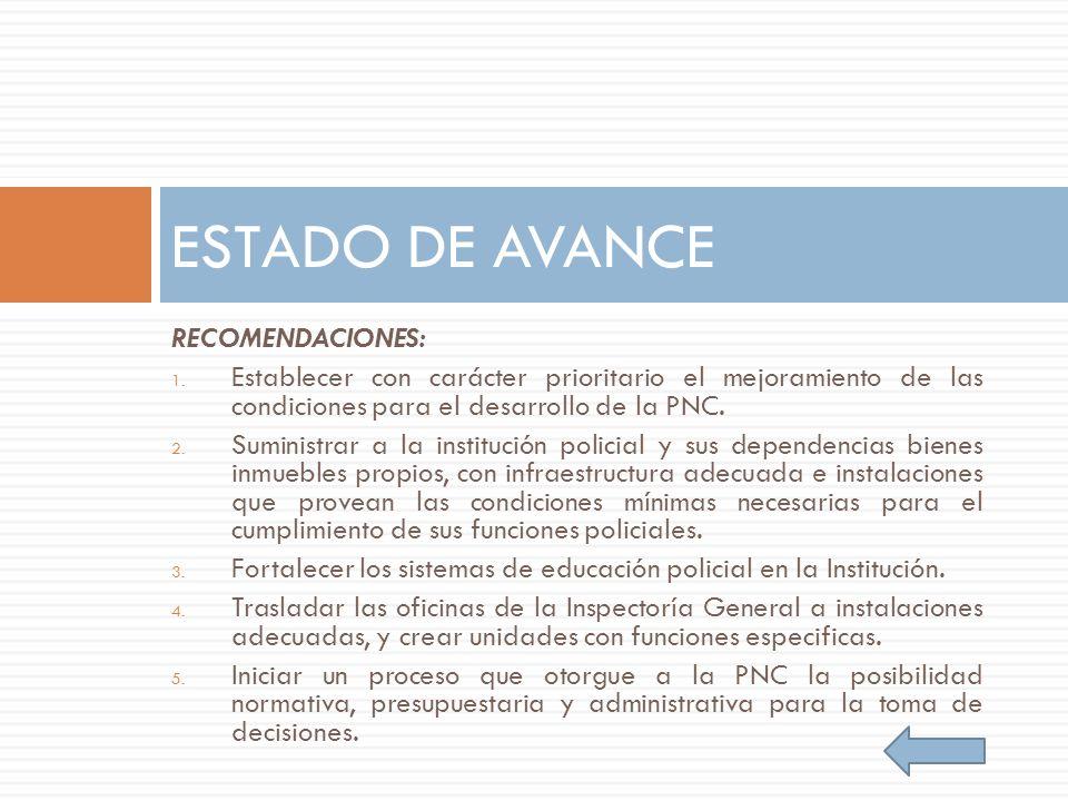 RECOMENDACIONES: 1. Establecer con carácter prioritario el mejoramiento de las condiciones para el desarrollo de la PNC. 2. Suministrar a la instituci