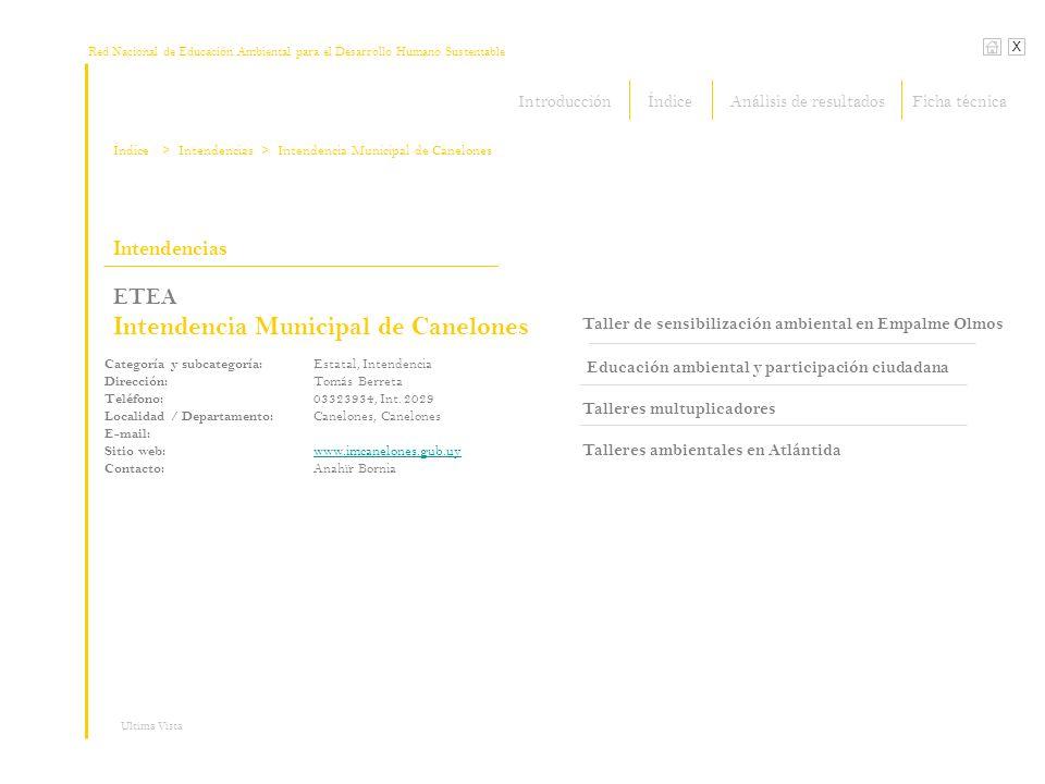 Red Nacional de Educación Ambiental para el Desarrollo Humano Sustentable X Ultima Vista Intendencias ETEA Intendencia Municipal de Canelones Taller d