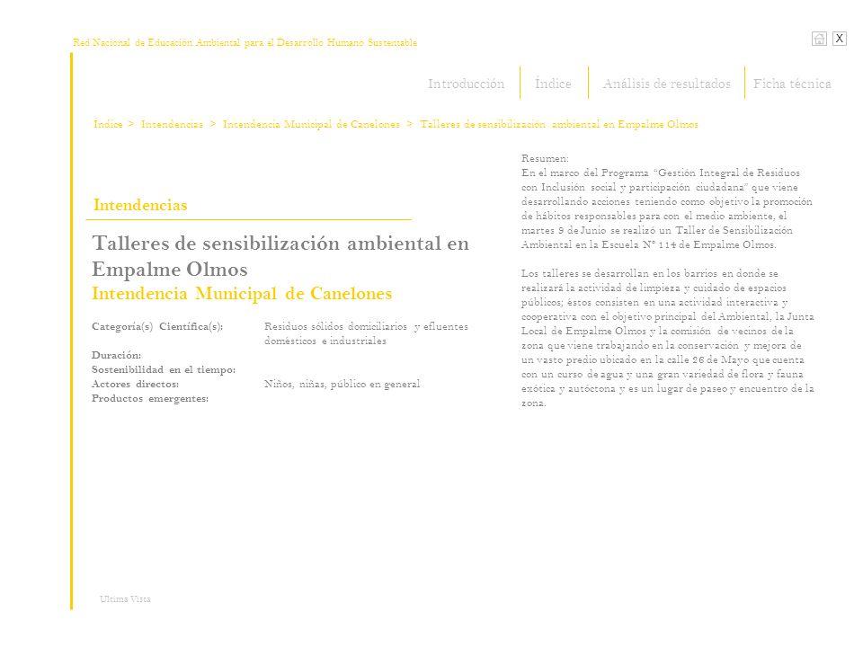 Red Nacional de Educación Ambiental para el Desarrollo Humano Sustentable Índice X Ultima Vista Intendencias > Intendencias Talleres de sensibilizació