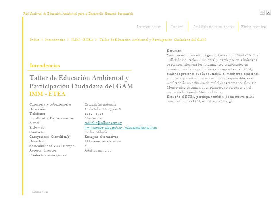 Red Nacional de Educación Ambiental para el Desarrollo Humano Sustentable Índice X Ultima Vista Intendencias > Intendencias Taller de Educación Ambien