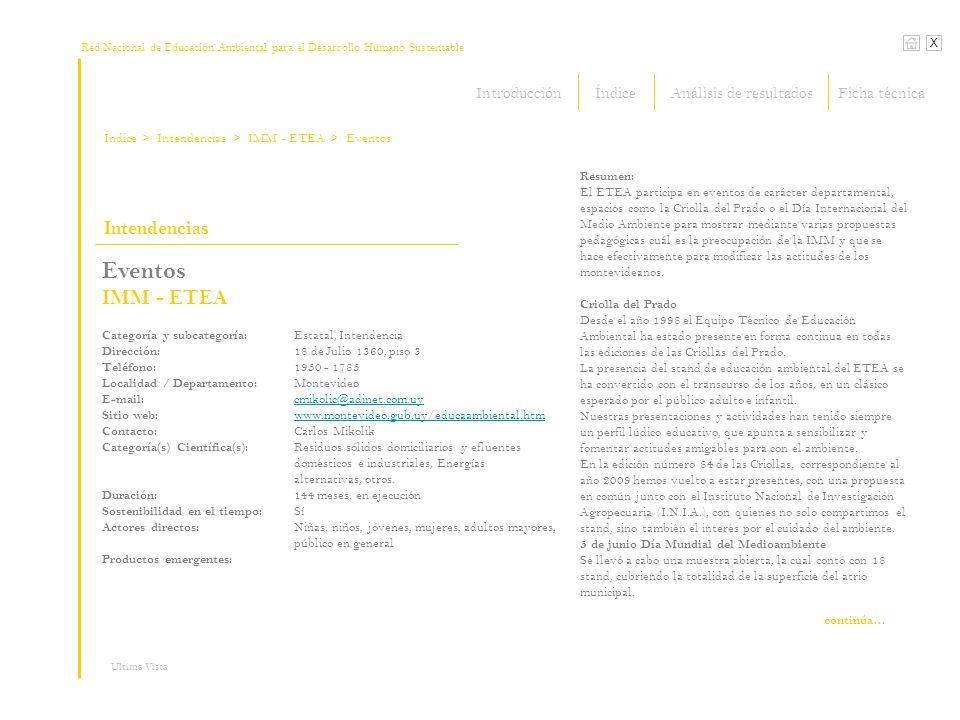 Red Nacional de Educación Ambiental para el Desarrollo Humano Sustentable Índice X Ultima Vista Intendencias > Intendencias Eventos IMM - ETEA Categor