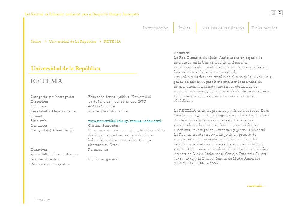 Red Nacional de Educación Ambiental para el Desarrollo Humano Sustentable Índice X Ultima Vista Universidad de la República RETEMA Categoría y subcate