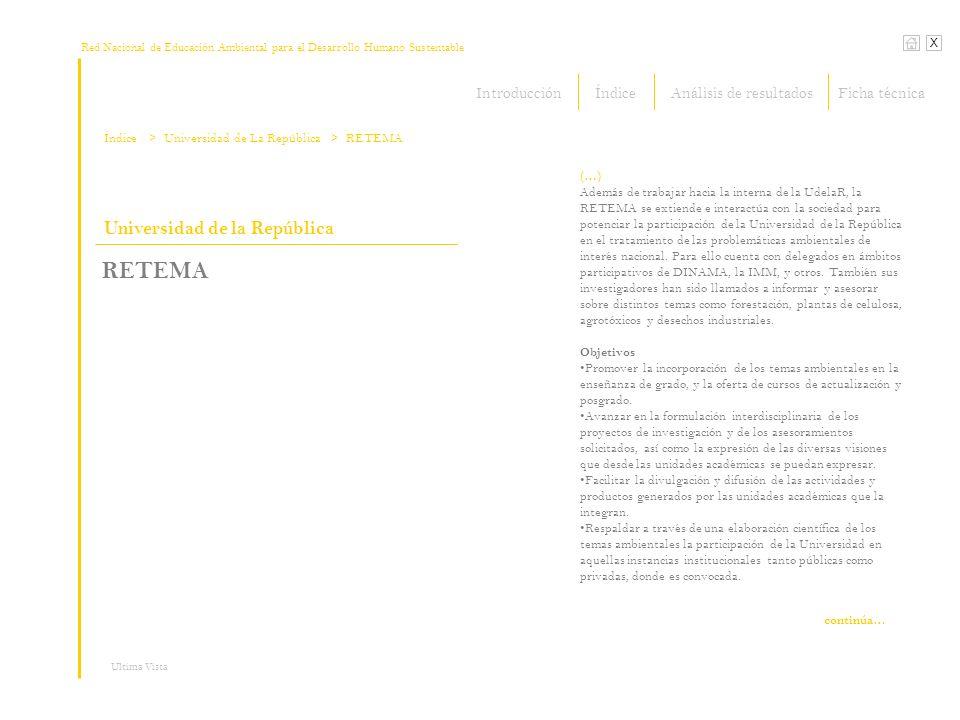 Red Nacional de Educación Ambiental para el Desarrollo Humano Sustentable X Ultima Vista Universidad de la República RETEMA (…) Además de trabajar hacia la interna de la UdelaR, la RETEMA se extiende e interactúa con la sociedad para potenciar la participación de la Universidad de la República en el tratamiento de las problemáticas ambientales de interés nacional.