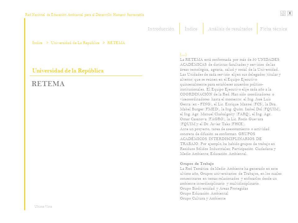 Red Nacional de Educación Ambiental para el Desarrollo Humano Sustentable X Ultima Vista Universidad de la República RETEMA (…) La RETEMA está conformada por más de 50 UNIDADES ACADÉMICAS de distintas facultades y servicios de las áreas tecnológica, agraria, salud y social de la Universidad.