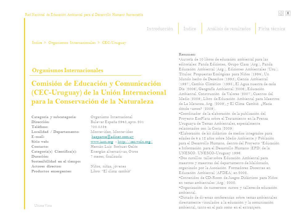 Red Nacional de Educación Ambiental para el Desarrollo Humano Sustentable Índice X Ultima Vista Organismos Internacionales > Organismos Internacionale