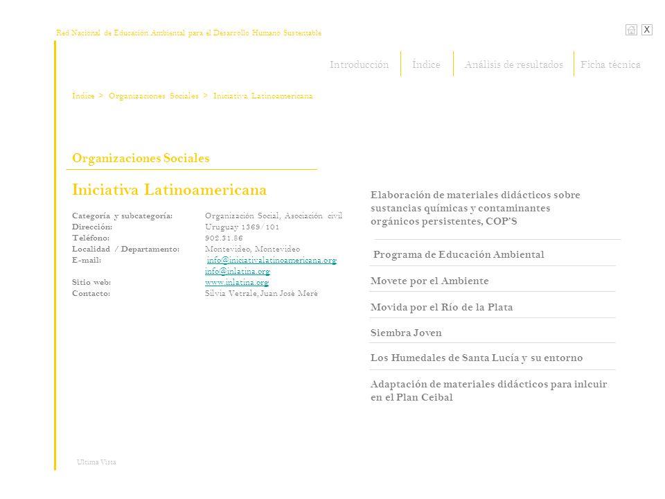 Red Nacional de Educación Ambiental para el Desarrollo Humano Sustentable Índice X Ultima Vista Organizaciones Sociales > Organizaciones Sociales Iniciativa Latinoamericana Elaboración de materiales didácticos sobre sustancias químicas y contaminantes orgánicos persistentes, COPS Programa de Educación Ambiental Movete por el Ambiente Movida por el Río de la Plata Siembra Joven Los Humedales de Santa Lucía y su entorno > Iniciativa Latinoamericana Adaptación de materiales didácticos para inlcuir en el Plan Ceibal Categoría y subcategoría: Organización Social, Asociación civil Dirección: Uruguay 1369/101 Teléfono: 902.31.86 Localidad / Departamento: Montevideo, Montevideo E-mail: info@iniciativalatinoamericana.org info@iniciativalatinoamericana.org info@inlatina.org Sitio web: www.inlatina.org www.inlatina.org Contacto: Silvia Vetrale, Juan José Meré IntroducciónÍndiceFicha técnicaAnálisis de resultados