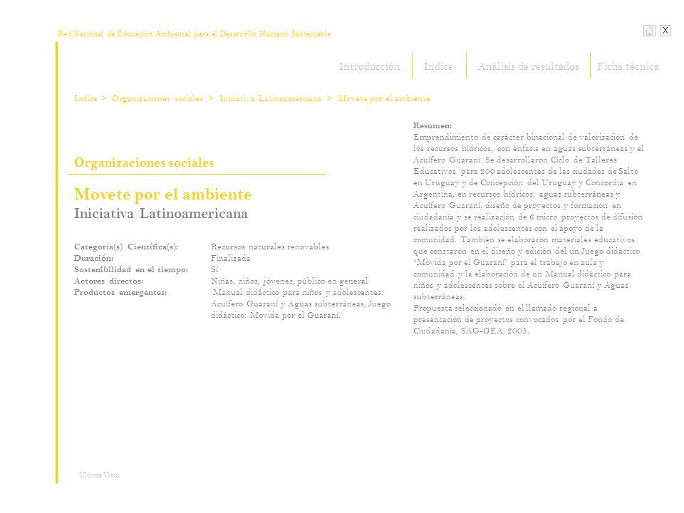 Red Nacional de Educación Ambiental para el Desarrollo Humano Sustentable Índice X Ultima Vista Organizaciones sociales > Organizaciones sociales Resumen: Emprendimiento de carácter binacional de valorización de los recursos hídricos, con énfasis en aguas subterráneas y el Acuífero Guaraní.