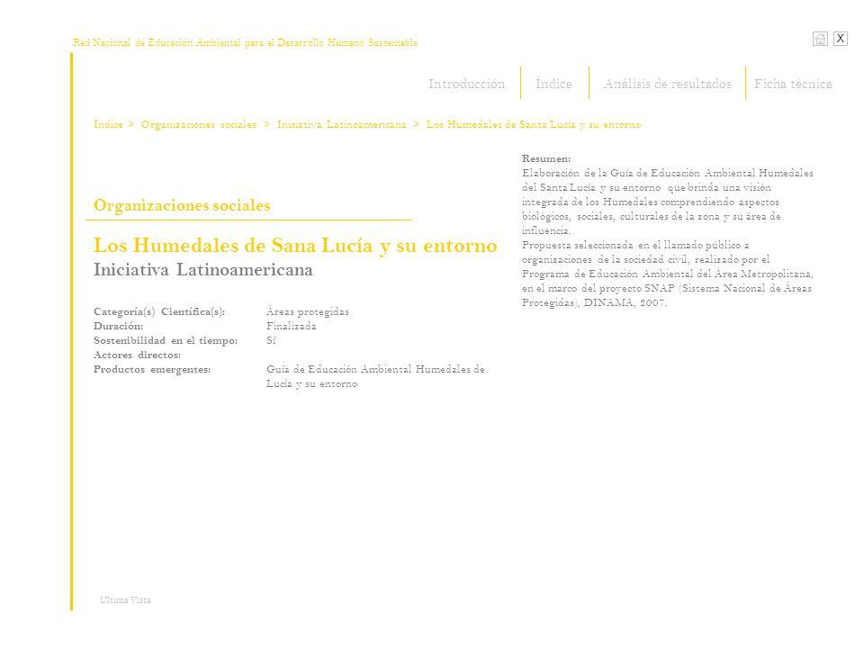 Red Nacional de Educación Ambiental para el Desarrollo Humano Sustentable Índice X Organizaciones sociales > Organizaciones sociales Resumen: Elaborac