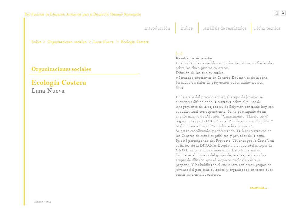 Red Nacional de Educación Ambiental para el Desarrollo Humano Sustentable Índice X Ultima Vista Organizaciones sociales > Organizaciones sociales (…) Resultados esperados: Producción de contenidos unitarios temáticos audiovisuales sobre los cinco puntos concretos.