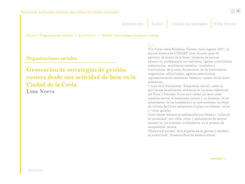 Red Nacional de Educación Ambiental para el Desarrollo Humano Sustentable Índice X Ultima Vista Organizaciones sociales > Organizaciones sociales (…)