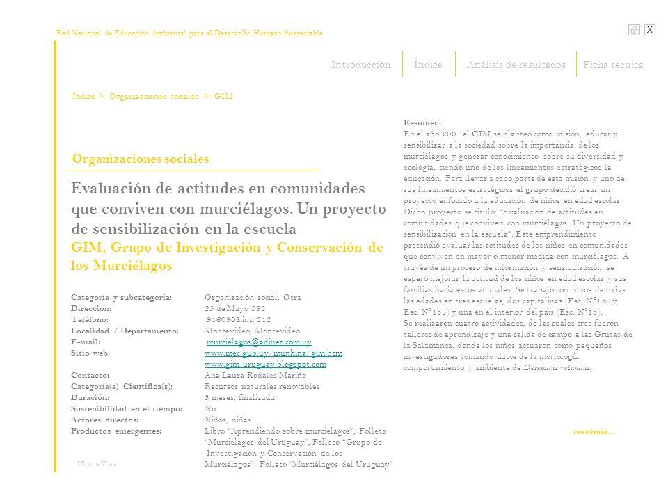 Red Nacional de Educación Ambiental para el Desarrollo Humano Sustentable Índice X Ultima Vista Organizaciones sociales > Organizaciones sociales Evaluación de actitudes en comunidades que conviven con murciélagos.