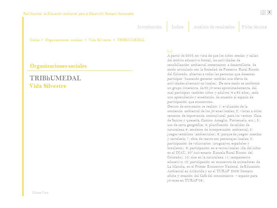Red Nacional de Educación Ambiental para el Desarrollo Humano Sustentable Índice X Ultima Vista Organizaciones sociales > Organizaciones sociales TRIB