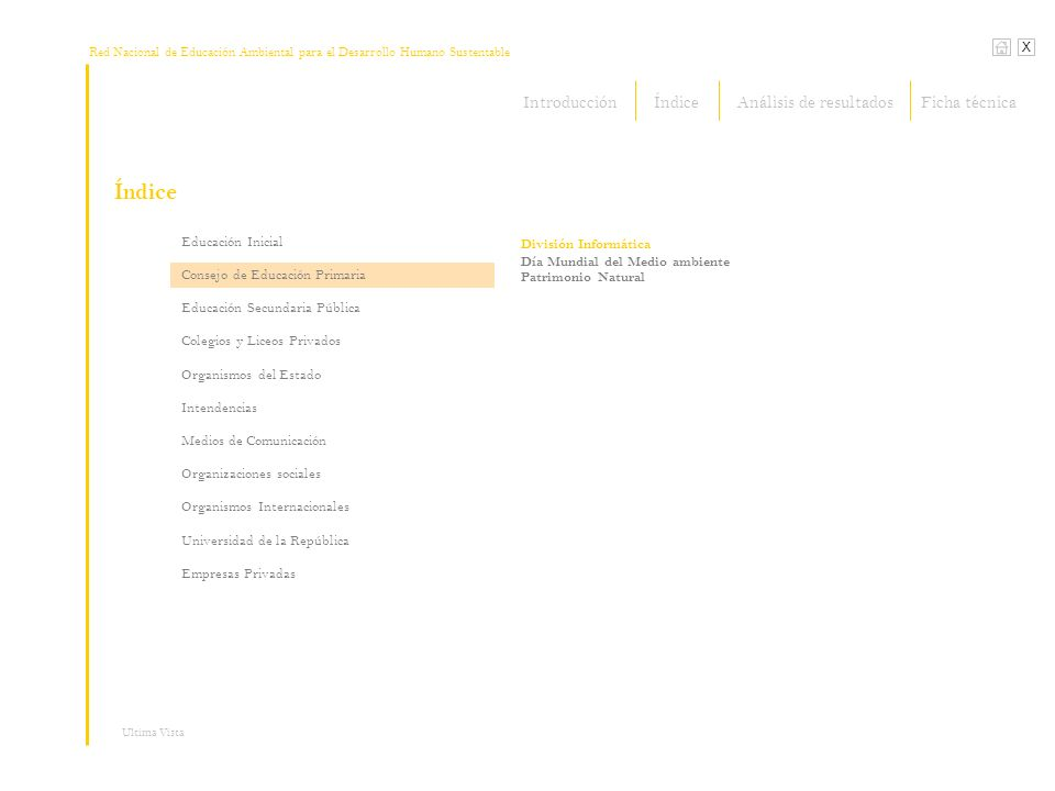 Red Nacional de Educación Ambiental para el Desarrollo Humano Sustentable Índice X Ultima Vista Organizaciones sociales > Organizaciones sociales Herramientas de comunicación, cursos, talleres, investigación y apoyo a experiencias educativas REDES Amigos de la Tierra (…continúa Productos emergentes) Lúdicos o escénicos: Juegos de Educación Ambiental..