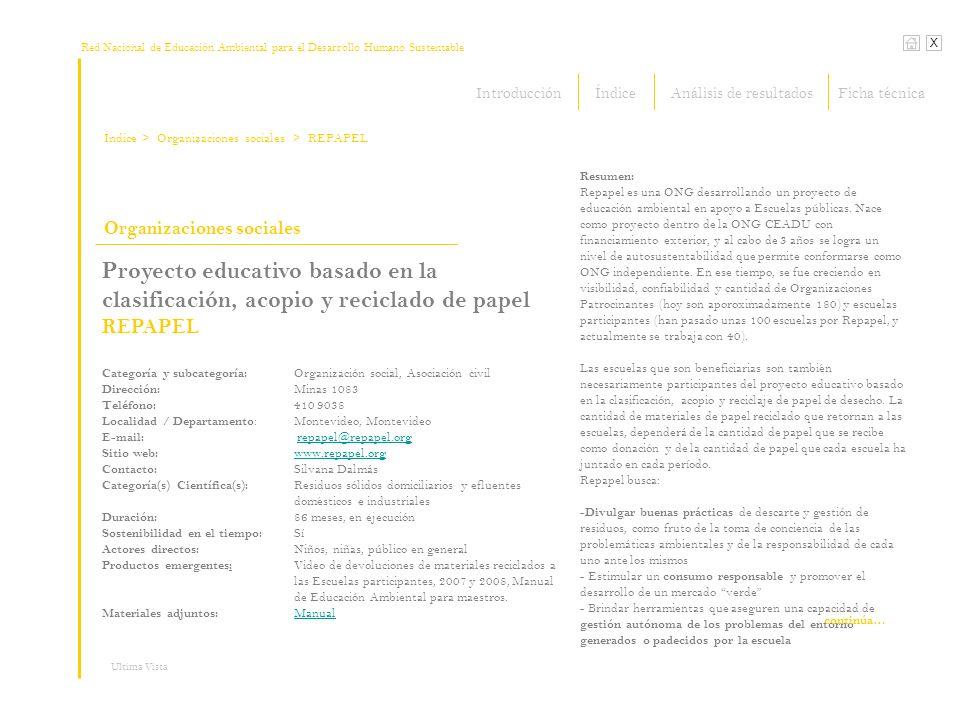 Red Nacional de Educación Ambiental para el Desarrollo Humano Sustentable Índice X Ultima Vista Organizaciones sociales > Organizaciones sociales Proy