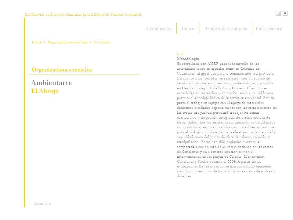 Red Nacional de Educación Ambiental para el Desarrollo Humano Sustentable Índice X Ultima Vista Organizaciones sociales > Organizaciones sociales Ambientarte El Abrojo (…) Metodología Se coordinará con ANEP para el desarrollo de las actividades tanto en escuelas como en Colonias de Vacaciones, al igual que para la comunicación del proyecto.