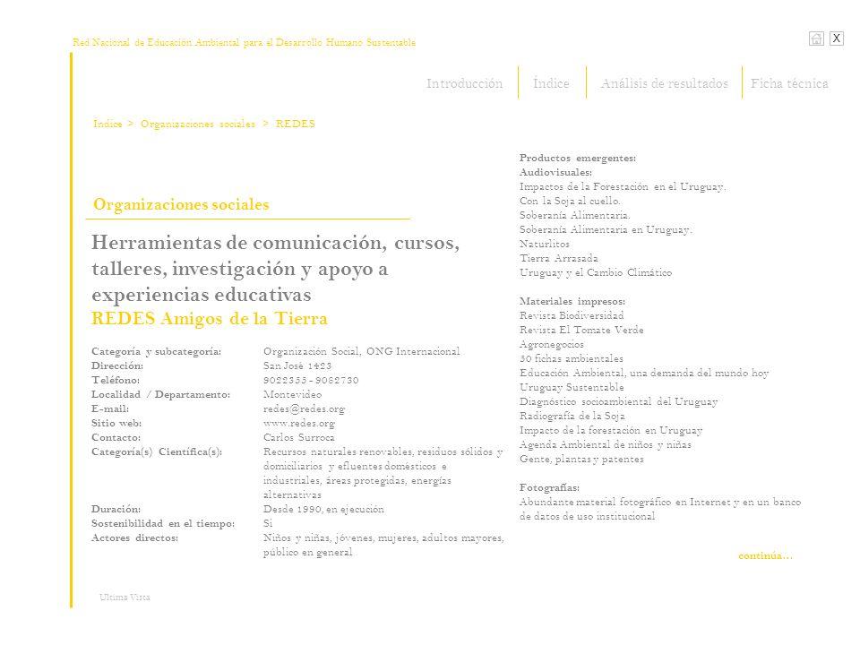 Red Nacional de Educación Ambiental para el Desarrollo Humano Sustentable Índice X Ultima Vista Organizaciones sociales > Organizaciones sociales Herr