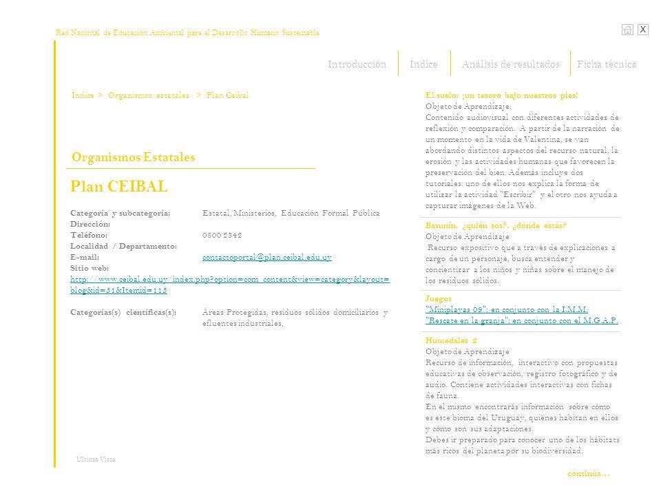 Red Nacional de Educación Ambiental para el Desarrollo Humano Sustentable Índice X Ultima Vista Organismos Estatales > Organismos estatales Plan CEIBAL Categoría y subcategoría: Estatal, Ministerios, Educación Formal Pública Dirección: Teléfono: 0800 2342 Localidad / Departamento: E-mail: contactoportal@plan.ceibal.edu.uy contactoportal@plan.ceibal.edu.uy Sitio web: http://www.ceibal.edu.uy/index.php?option=com_content&view=category&layout= blog&id=51&Itemid=115 http://www.ceibal.edu.uy/index.php?option=com_content&view=category&layout= blog&id=51&Itemid=115 Categorías(s) científicas(s): Áreas Protegidas, residuos sólidos domiciliarios y efluentes industriales, > Plan Ceibal El suelo: ¡un tesoro bajo nuestros pies.