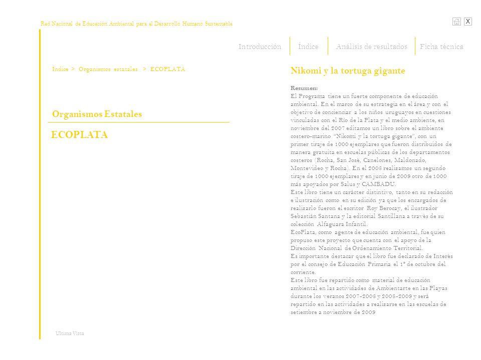 Red Nacional de Educación Ambiental para el Desarrollo Humano Sustentable Índice X Ultima Vista > Organismos estatales Resumen: El Programa tiene un f