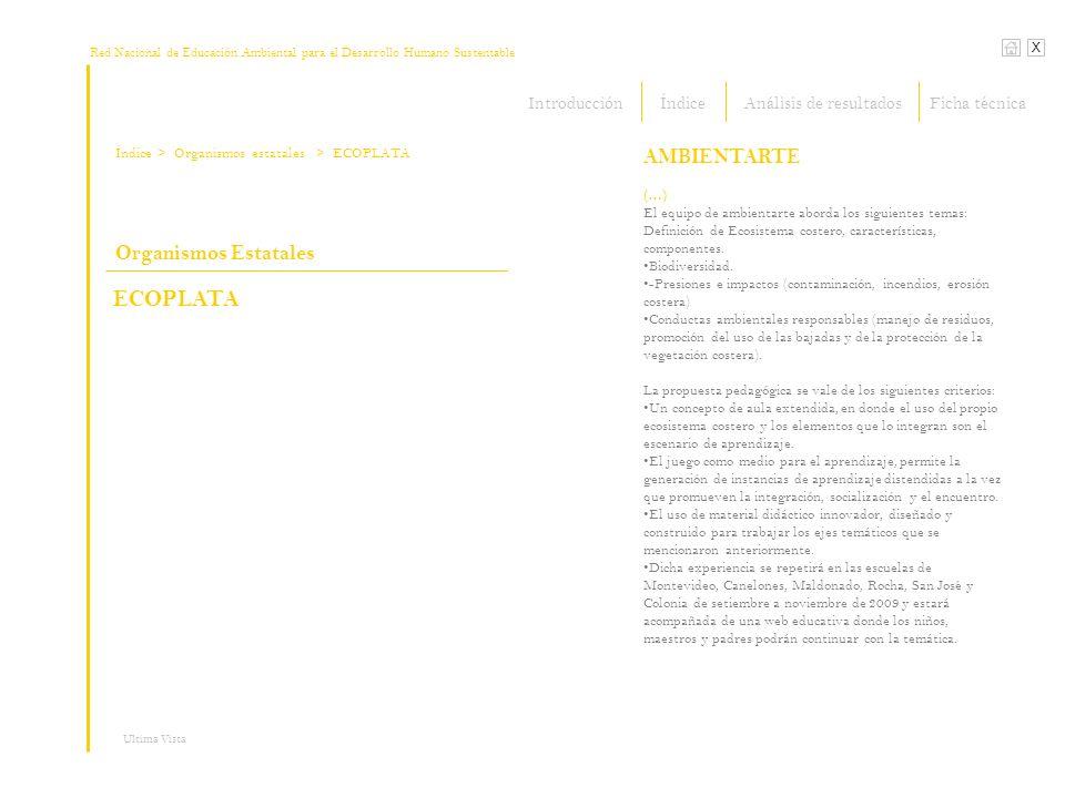 Red Nacional de Educación Ambiental para el Desarrollo Humano Sustentable Índice X Ultima Vista > Organismos estatales (…) El equipo de ambientarte ab