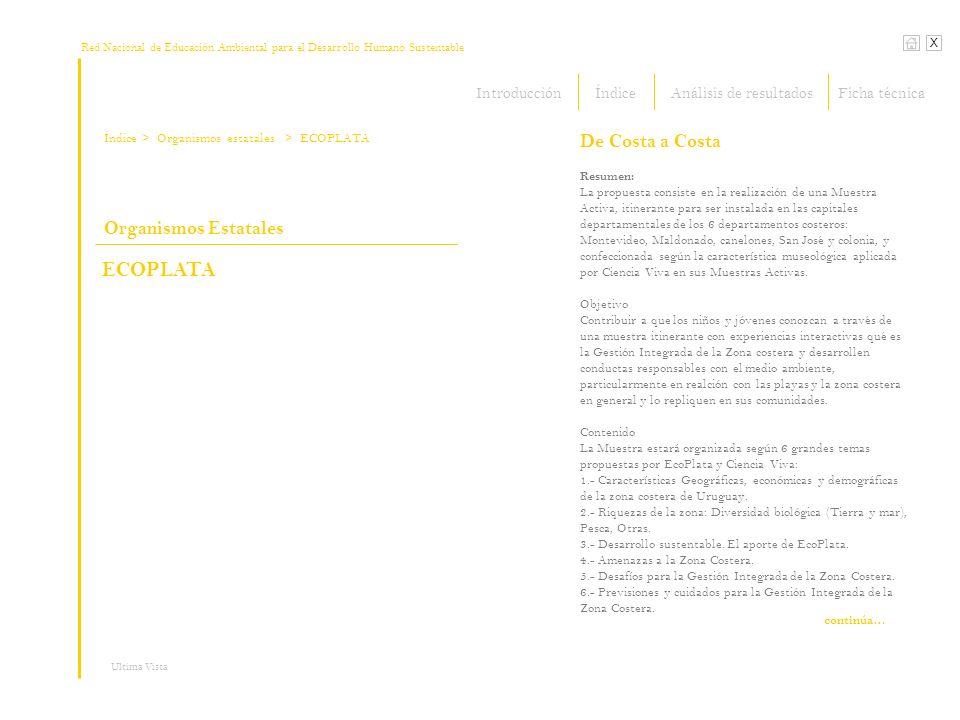 Red Nacional de Educación Ambiental para el Desarrollo Humano Sustentable Índice X Ultima Vista > Organismos estatales Resumen: La propuesta consiste en la realización de una Muestra Activa, itinerante para ser instalada en las capitales departamentales de los 6 departamentos costeros: Montevideo, Maldonado, canelones, San José y colonia, y confeccionada según la característica museológica aplicada por Ciencia Viva en sus Muestras Activas.