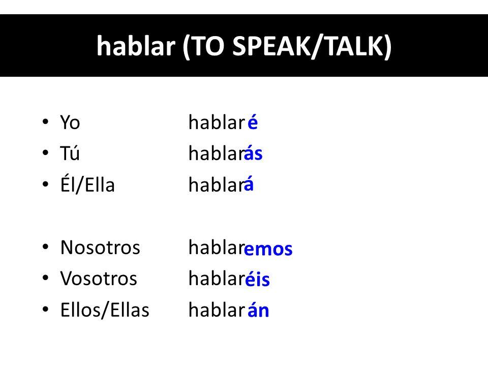 Yo hablar Tú hablar Él/Ella hablar Nosotros hablar Vosotros hablar Ellos/Ellas hablar é ás á emos éis án hablar (TO SPEAK/TALK)