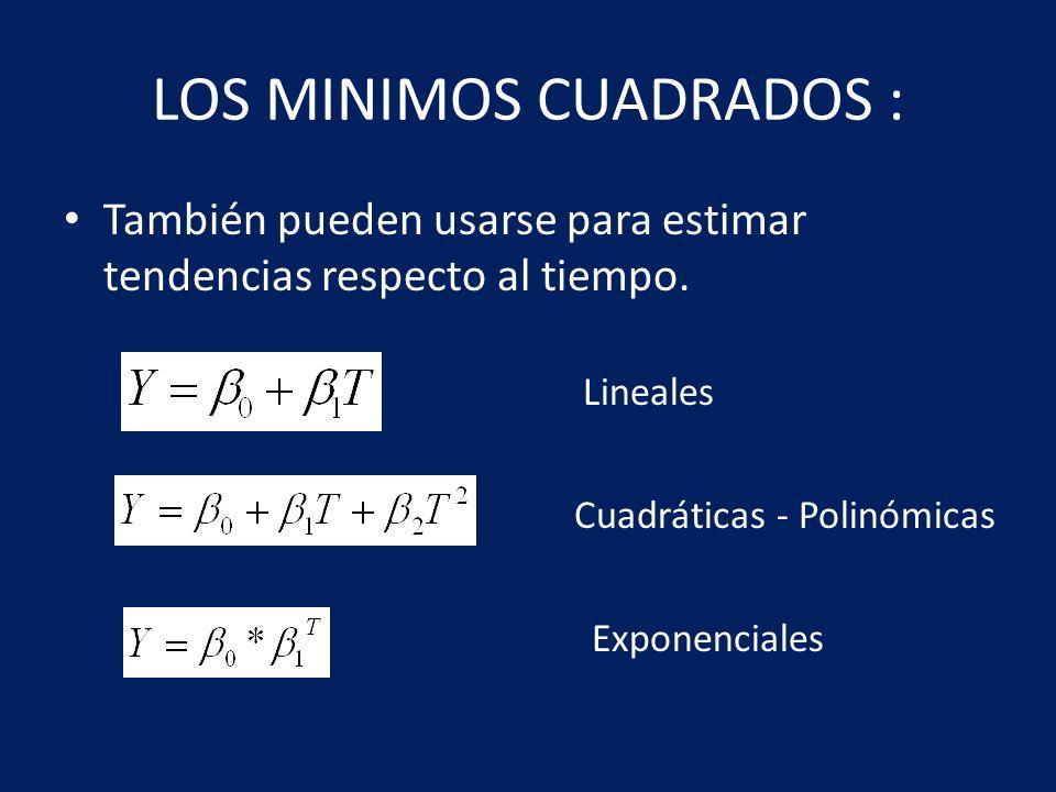 LOS MINIMOS CUADRADOS : También pueden usarse para estimar tendencias respecto al tiempo. Lineales Cuadráticas - Polinómicas Exponenciales