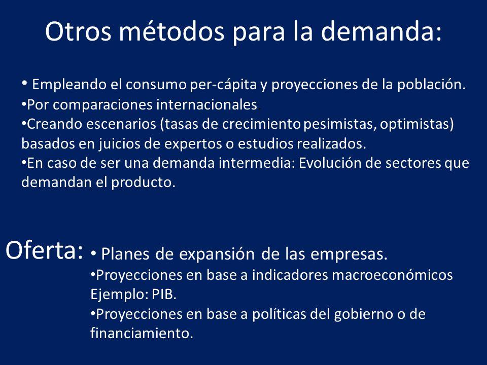 Otros métodos para la demanda: Empleando el consumo per-cápita y proyecciones de la población. Por comparaciones internacionales. Creando escenarios (